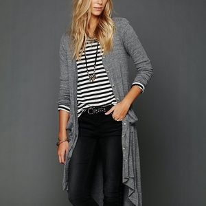 FP Beach | Ribbed Up Maxi Cardigan Gray